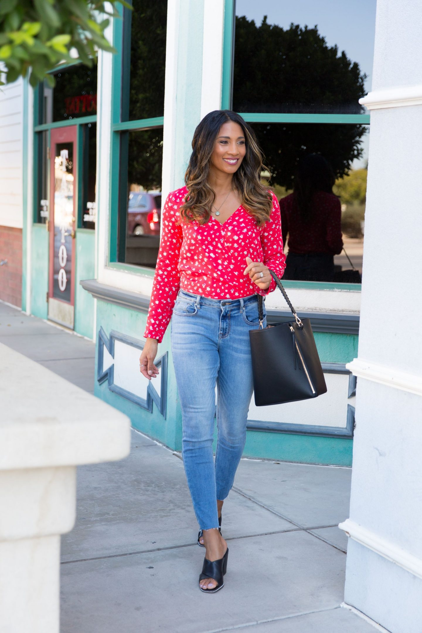 FALL FASHION, FLORAL TOP, OUTFIT INSPO, CUTE OUTFITS, STYLE, AZ BLOGGER