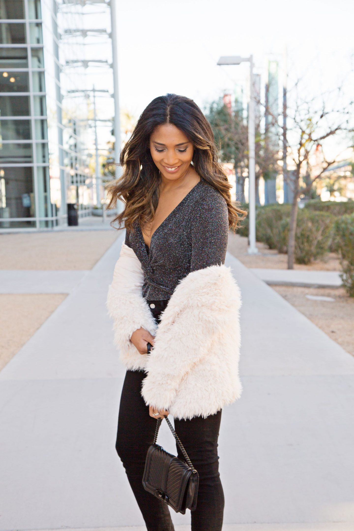 NEW YEARS OUTFIT, BODYSUIT, WHAT TO WEAR, PARTY OUTFIT, FASHION INSPO, SHAGGY JACKET, FAUX FUR