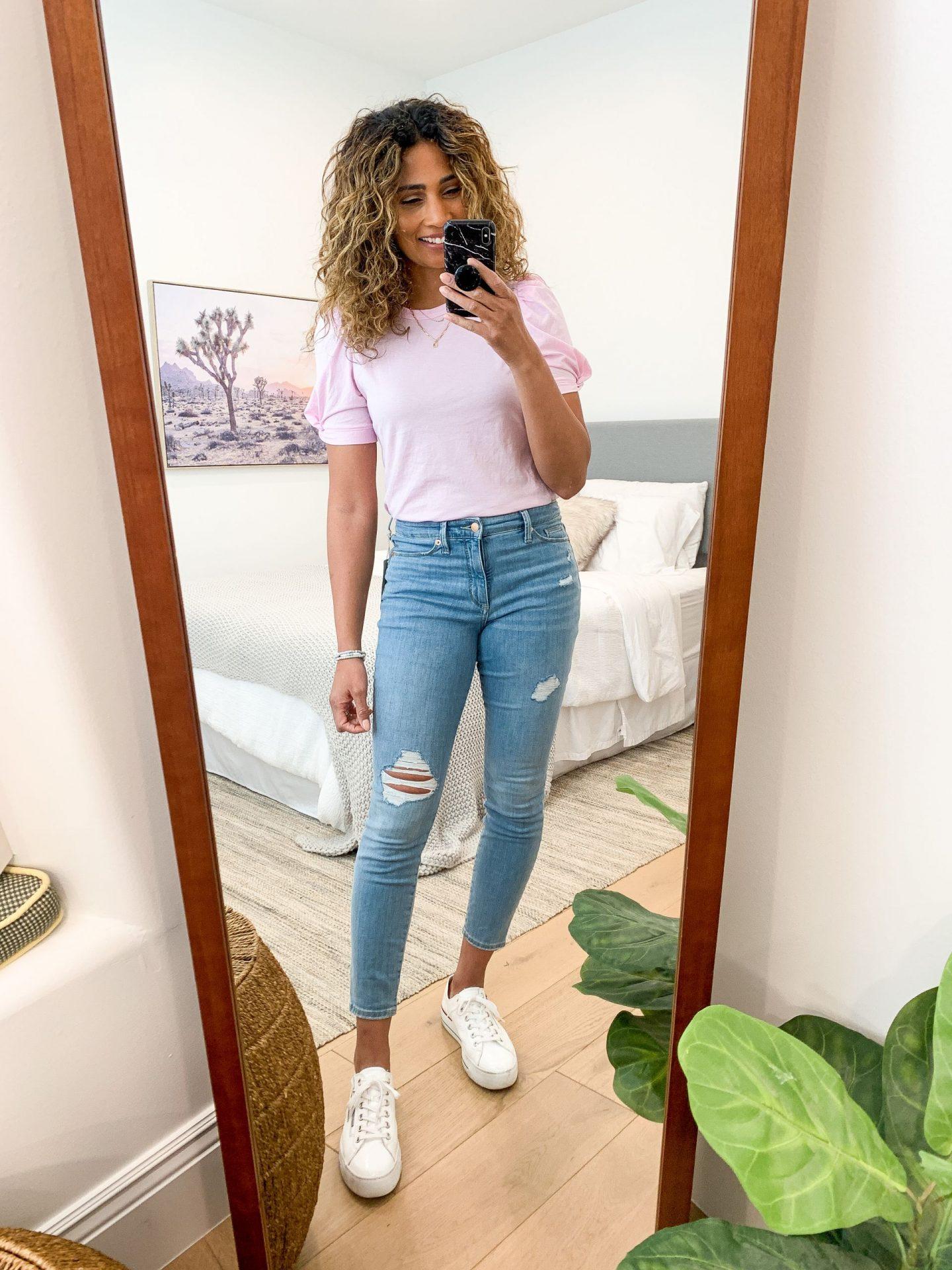puff sleeve tee distressed jeans